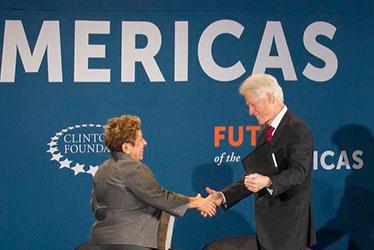 Donna Shalala and Bill Clinton