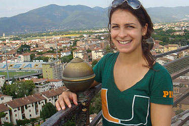 Carla Maffeo atop the Leaning Tower of Pisa