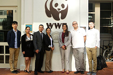 Students in front of the WWF offices in Washington DC