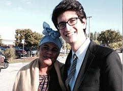 Third-year Miami Law student Ross Militello and his client's mother