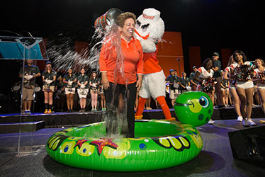 President Shalala Accepts Ice Bucket Challenge