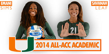 Volleyball's Leaf and Sims Named All-ACC Academic