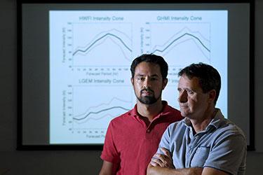 David Nolan, right, and Ph.D. student Kieran Bhatia
